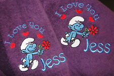 Personalised bath towel and washer set I love you SMURF gift - add FREE names