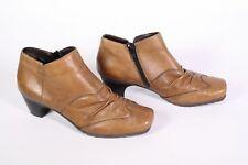 #24D Rieker  Stiefeletten Ankle Boots Leder braun Gr. 38 gerafft Blockabsatz