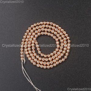 "AAA Natural Rose Gold Hematite Gemstones Round Beads 2mm 4mm 6mm 8mm 10mm 16"""