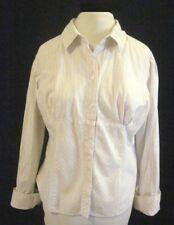 Career Pinstripe Shirt  Blouse No Boundaries Stretch Junior Size Large Buttons