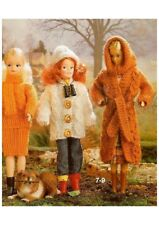 BARBIE Doll Knitting Pattern 4 Ply COAT sweater SKIRT Evening Dress Scarf