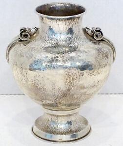 STUNNING! Vintage STERLING SILVER Hand Hammered & Ram's Head ARTS CRAFTS Vase