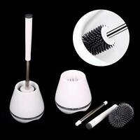 Toilet Brush Silicone Soft Bristle Base WC Bathroom Lavatory Cleaning Tool Set