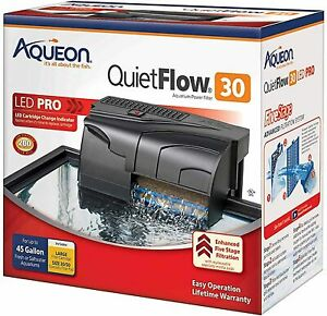 Aqueon Quietflow LED Pro Aquarium Power Filter 30 for Up to 45 Gallon