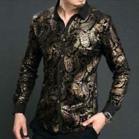 Mens Floral Printed Slim Dress Mulberry Silk Pleuche Shirts Tops Blouse S-3XL