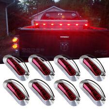 8x Red Light Clearance Side Marker Truck RV Trailer w Chrome Cover Bezel 4 LED