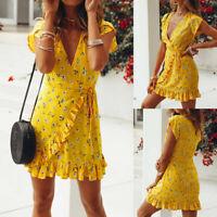 UK Women Short Sleeve Wrap Boho Floral Mini Dress Ladies Summer Sundress Holiday