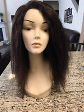 14 INCH HUMAN HAIR LACE FRONT FULL WIG BRAZILIAN REMY YAKI MEDIUM CAP BROWN USED