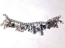 Estate 40s-80s Ster 21-CHARM BRACELET! amazing MECHANICALS moving UNIQUE CHARMS!