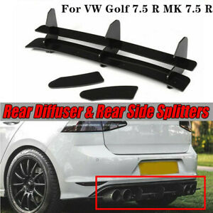 For VW Golf 7.5 R M K 7.5 R 2018-2019 Black Rear Bumper Diffuser Lip Spoiler Kit