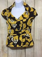 ANTHROPOLOGY ELEVENSES YELLOW & BROWN FLORAL PRINT BLOUSE SIZE 2