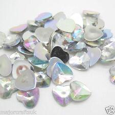 100x Crystal AB 10mm FlatBack Heart Pointed Spikey Resin Rivoli Rhinestones Gems