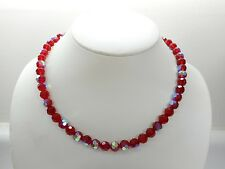 """Vintage 950 Sterling Silver Red Bead Beaded Colorful Necklace 17.5""""  #1532"""