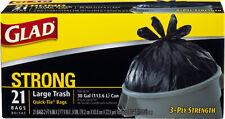 Glad Trash Bags Quick-Tie 30 Gallon 21 Ct (case - 9)