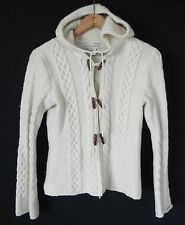 Banana Republic Sweater/Jacket Hoodie 100% Lamb's Wool Cream Size S Cable Knit