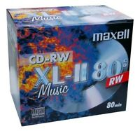 10 x Maxell Audio CD-RW Jewel Case ReWritable Recordable Blank Music 80 Min Disc