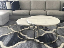 Coffee Table Round Marble Top with Stainless Steel Base Nest of Two BRAND NEW