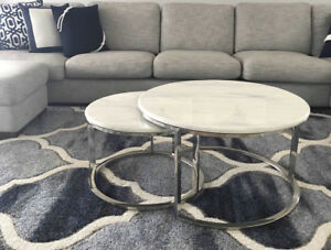 Coffee Table Round Marble Top with Chrome Stainless Steel Base Nest of Two NEW