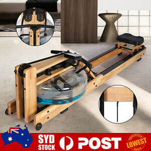 Wooden Rowing Machine Water Resistance Exercise Rower Fitness Gym Home Cardio O