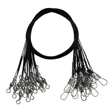 """Lot Black Stainless Steel Fishing Wire Leader with Snap and Swivel 12"""" LONG 30cm"""