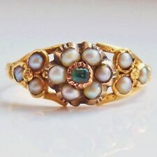 Charming Antique Victorian 9ct Gold Emerald & Pearl Cluster Ring c1860