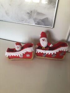 Christmas Decoration Handmade Santa Sleigh Knitted