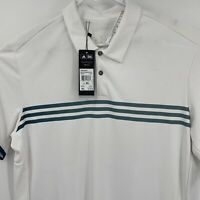 Adidas Climachill Men's Polo Shirt Size XL White Stripe