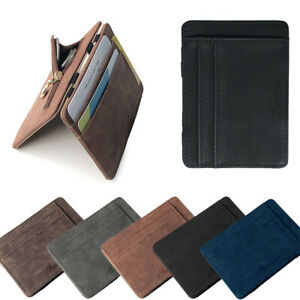 Men's Luxury Faux Leather Thin Mini Wallet Credit Card ID Holder Purse Wallet