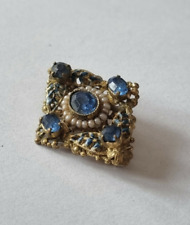 Glass & Seed Pearl Brooch Pin Vintage Art Deco Czech Filigree Blue Paste