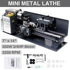 "7"" x 14""Mini Metal Lathe Machine 550W Variable Speed 2250 RPM DC Motor Driven"
