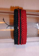 HANDMADE BLACK & RED SET OF 3 FRIENDSHIP/FESTIVAL BRACELETS, ADJUSTABLE