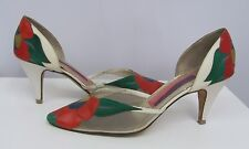 SUSAN BENNIS SHOES LEATHER & SUEDE FLOWER WORK OF ART WHITE BACKROUND SIZE 9
