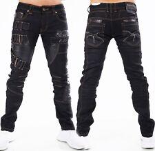HIGHNESS Herren Jeans Hose Men´s Wear Straight Loose Kunstleder Patches schwarz