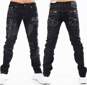 HIGHNESS Homme Pantalon Jeans Homme ´S Wear Droit Ample Simili-Cuir Patchs Noir
