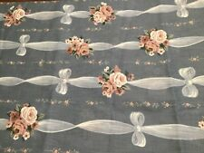 Vintage French Cottage Roses Stripe Cotton Fabric ~ Rose Pink Blue Green Yellow