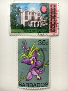 Barbados used postage stamp #309 1970 local motive, #376 1974 Orchids collectors