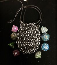NEW Small Chainmail Dice Bag Pouch Stretch Silver Handmade USA Kalibaba Designs