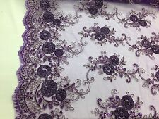 Purple 3D Flowers Embroider On A Mesh Lace With Sequins.wedding/bridal Fabric .