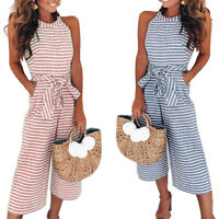 Women Sleeveless Striped Jumpsuit Romper Casual Clubwear Wide Leg Pants Trousers