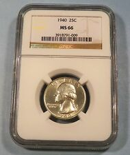 1940 NGC MS66 WASHINGTON QUARTER 25c MS 66