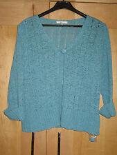 Ladies Duck Egg Cardigan 12 Jade Green Cardigan Crochet Jacket Turquoise MEDIUM