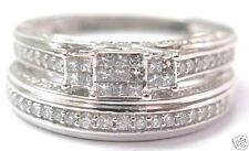 Fine Invisible Diamond Two Ring Wedding Set White Gold 14KT 0.80Ct