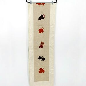 """Pottery Barn Farmhouse Fall Embroidered Appliqué Fall Leaves 106"""" Table Runner"""