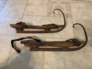 Early 18th Century Ice Skates W  Leather Strap Remains & Awesome Lg Iron Curls