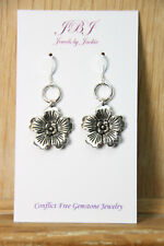 Hawaiian Flower Earrings Hawaii Tropical 925 sterling silver hook pewter charms