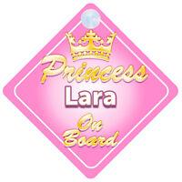 Crown Princess Lara On Board Personalised Baby Girl Car Sign