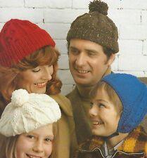 Hat, Beret, Helmet Knitting Pattern in Aran and DK Ladies Mens Girls Boys  815