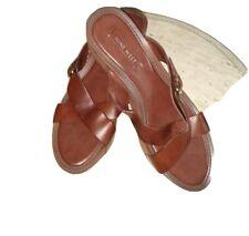 Nine West Brown Platform Mules Chunky Heel Slip On,