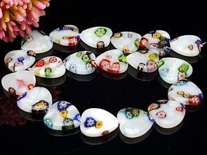 1 Strang 19 Stck bunte Millefiori Herz Blumen Glasperlen flach lampwork  18*18mm