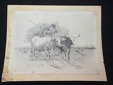 Antique Ca 1870s G. H. Bartlett California Bull Cattle Orig Signed Art Drawing